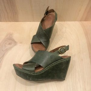 BORN Emmy II Leather Cross Front Green Wedge